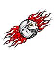 baseball ball with flames vector image vector image
