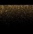 golden rain isolated on black background vector image