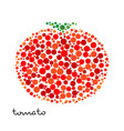 red tomato silhouette created from dots vector image