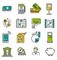 set of colored finance icons vector image