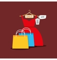 shopping woman fashion vector image