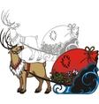 Sleigh and reindeer - vinyl-redy vector image
