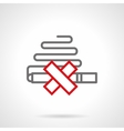Smoking prohibition simple line icon vector image