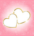 Two hearts on a pink background vector image