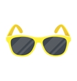 Yellow trendy sunglasses icon in cartoon style vector image