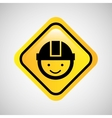 worker man helmet sign yellow icon vector image