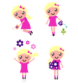 child with spring flowers vector image vector image