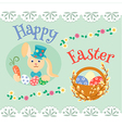 Easter bunny with carrots and colored eggs and wil vector image