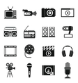 Audio and video icons set simple style vector image