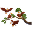 Four eagles on the branch vector image
