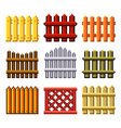 Pixel fences for games icons set vector image