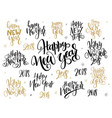 set of hand lettering 2018 new year vector image
