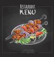 chalk drawing menu design shish kebab vector image