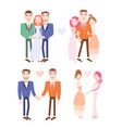 gay and lesbian couples getting married vector image vector image
