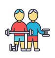 bodybuilders fintess gym strong practice vector image