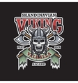 Viking emblem on dark background vector image