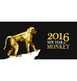Happy chinese new year monkey gold low poly ape vector image