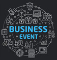 black line flat circle business event vector image