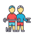 bodybuilders fintess gym strong practice vector image