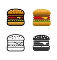 Burger colored icon set vector image