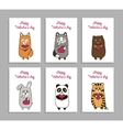 funny animals hand drawn picture for vector image