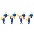kids in school band wearing blue uniform vector image