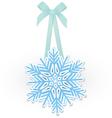Snowflake on ribbon vector image vector image