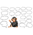 Monkey and different types of bubble speeches vector image vector image