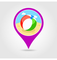 Beach Ball pin map icon Summer Vacation vector image