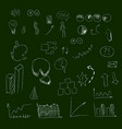 set of hand drown icons on chalkboard for vector image