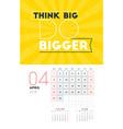 wall calendar template for april 2018 design vector image