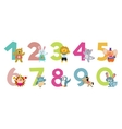 Kids numbers with cartoon animals vector image vector image
