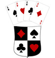 shield and four aces vector image vector image