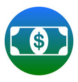 bank note dollar sign  white icon in vector image