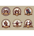 Set of combative sport icons or emblems vector image vector image