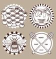 Sketch honey logotypes vector image