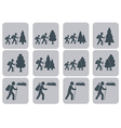 Set of backpacker icons vector image