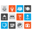 Flat Hotel motel and holidays icons vector image