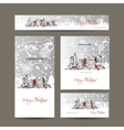 Merry christmas set postcards with cityscape vector image