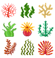 Pixel seaweed for games icons set vector image