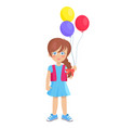 brunette doll like girl with air balloons vector image