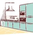 kitchen interior room color sketchy backgrou vector image