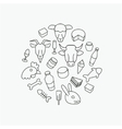 Line farm icons vector image