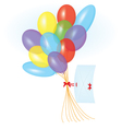 Ribbon letter and balloons vector image
