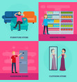 People in shop square concept vector image