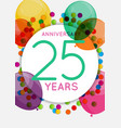 template 25 years anniversary congratulations vector image vector image