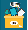 Online shopping Add to box order and payment vector image