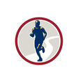 Marathon Runner Running Circle Retro vector image vector image