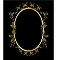 Gold oval floral frame vector image