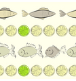 seamless background with fish and lemon vector image vector image